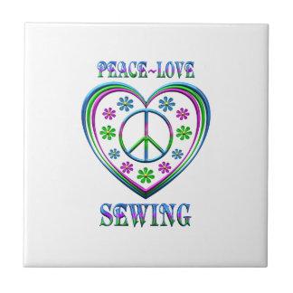 Peace Love Sewing Ceramic Tile