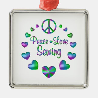 Peace Love Sewing Metal Ornament