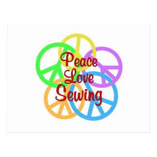 Peace Love Sewing Postcard