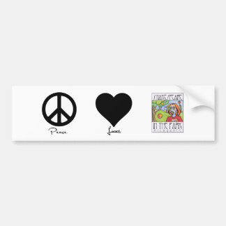 Peace * Love * Shakespeare in the Park green Bumpe Bumper Sticker