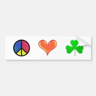 Peace Love Shamrock - Bumper Sticker Car Bumper Sticker