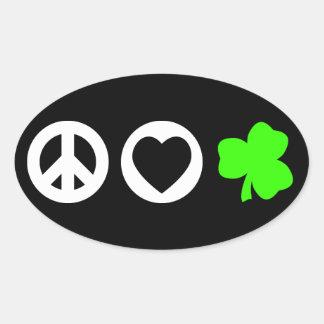 Peace Love Shamrock Oval Sticker
