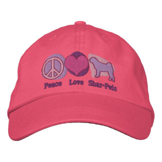 Peace Love Shar-Peis Embroidered Hat (Pink)