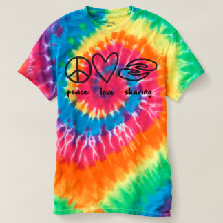Peace Love Sharing Ladies Multicolor Tie-dye T-Shirt
