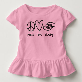 Peace Love Sharing Toddler Ruffle Tee