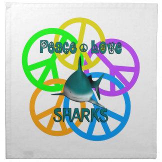 Peace Love Sharks Napkin