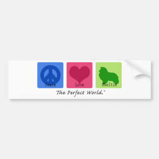 Peace Love Sheltie Bumper Sticker