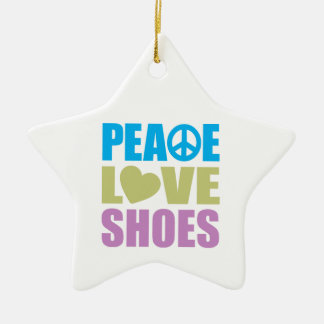 Peace Love Shoes Ceramic Ornament