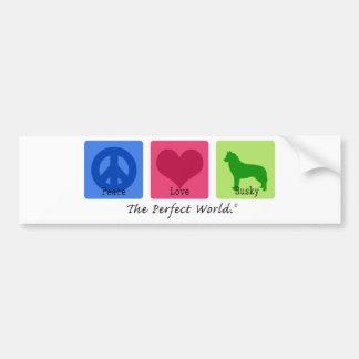 Peace Love Siberian Husky Bumper Sticker