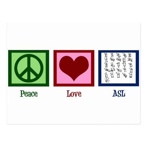 Peace Love Sign Language Post Card