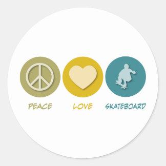 Peace Love Skateboard Round Stickers