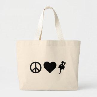Peace Love Skateboarding Jumbo Tote Bag