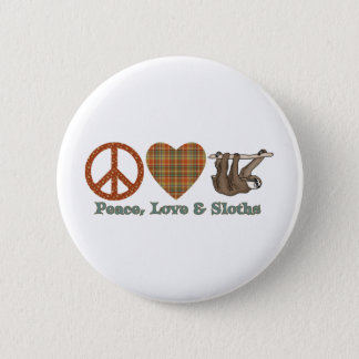 Peace, Love & Sloths 6 Cm Round Badge