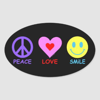 Peace Love Smile Oval Sticker