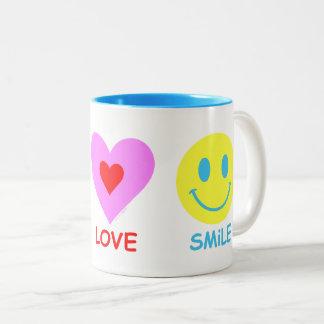 Peace Love Smile Two-Tone Coffee Mug