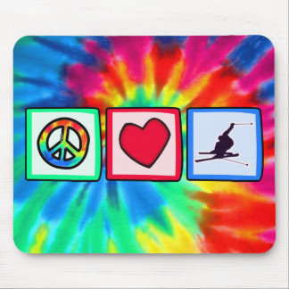 Peace Love Snow Skiing Mouse Pads