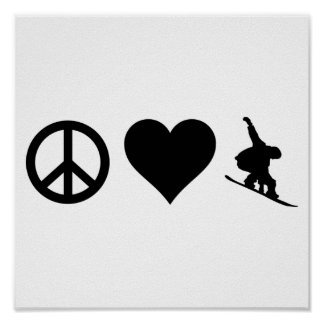 Peace Love Snowboarding Poster