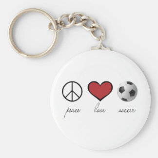Peace, Love, Soccer Basic Round Button Key Ring