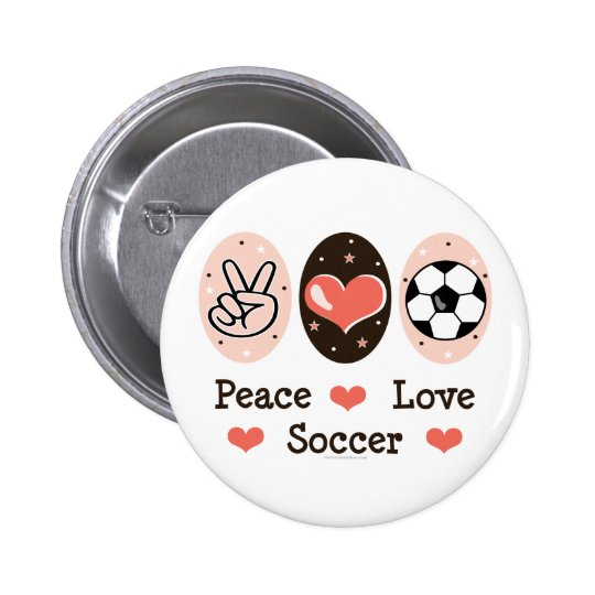 Peace Love Soccer Button