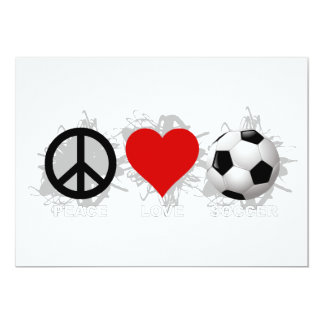 Peace Love Soccer Emblem 13 Cm X 18 Cm Invitation Card