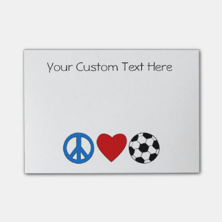 Peace Love Soccer Football Sticky Notezs Post-it Notes