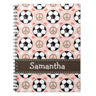 Peace Love Soccer Spiral Notebook Journal