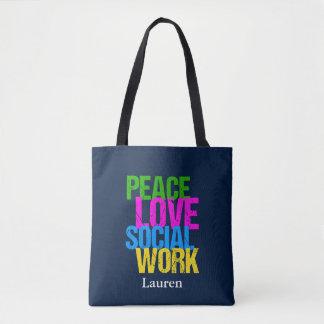 Peace Love Social Work Custom Tote Bag