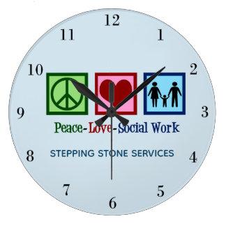 Peace Love Social Work Large Clock