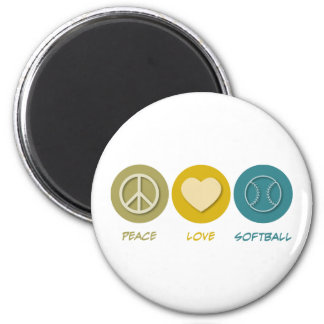 Peace Love Softball 6 Cm Round Magnet