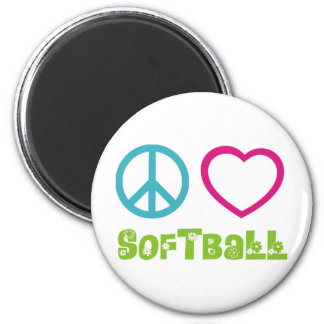 Peace Love Softball 6 Cm Round Magnet