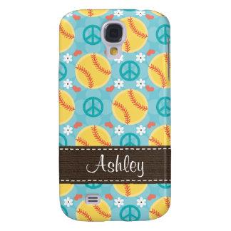 Peace Love Softball  Galaxy S4 Cover