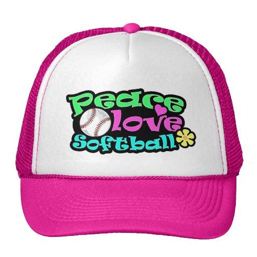 Peace, Love, Softball Mesh Hat