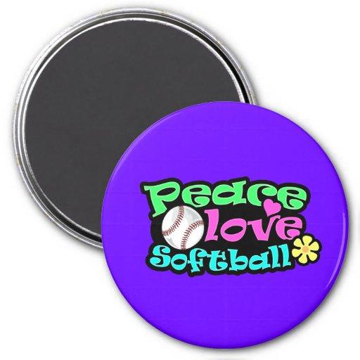 Peace, Love, Softball Fridge Magnet
