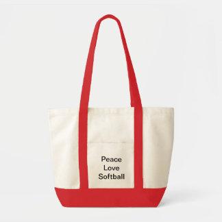 Peace Love Softball tote Bag