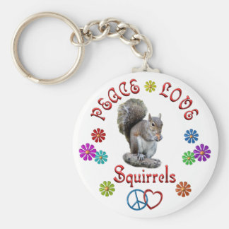 Peace Love SQUIRRELS Key Ring