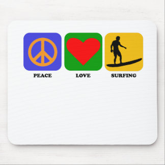 Peace Love Surfing Mousepads