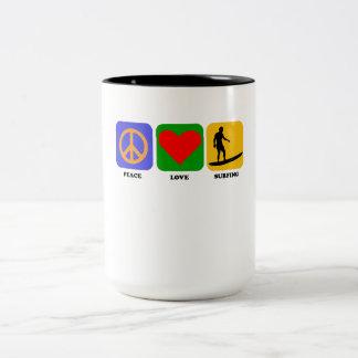 Peace Love Surfing Coffee Mugs