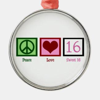 Peace Love Sweet 16 Metal Ornament