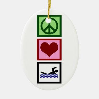 Peace Love Swim Ceramic Ornament