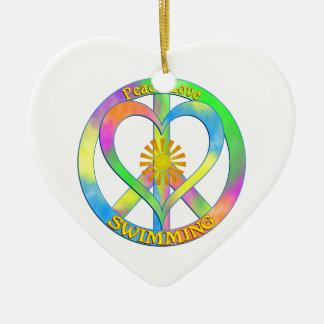 Peace Love Swimming Ceramic Heart Decoration