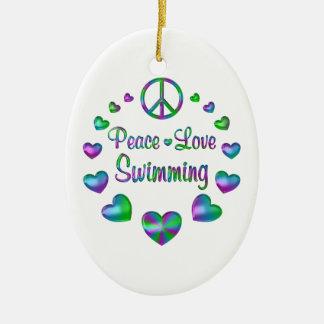 Peace Love Swimming Ceramic Oval Decoration