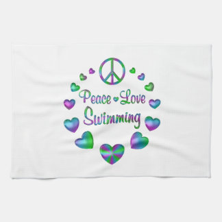 Peace Love Swimming Kitchen Towel