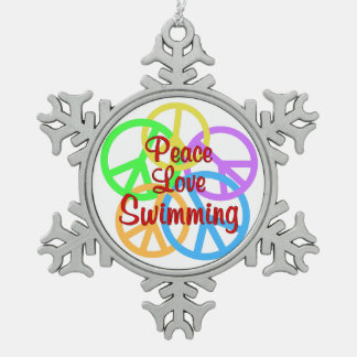 Peace Love Swimming Pewter Snowflake Decoration