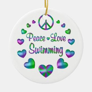 Peace Love Swimming Round Ceramic Decoration