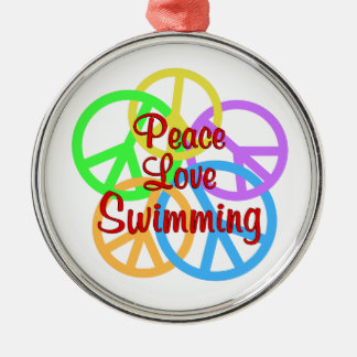 Peace Love Swimming Silver-Colored Round Decoration