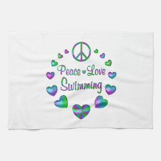 Peace Love Swimming Tea Towel