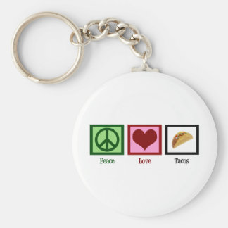 Peace Love Tacos Basic Round Button Key Ring