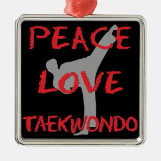 Peace Love Taekwondo Silver-Colored Square Decoration