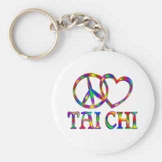 Peace Love Tai Chi Basic Round Button Key Ring