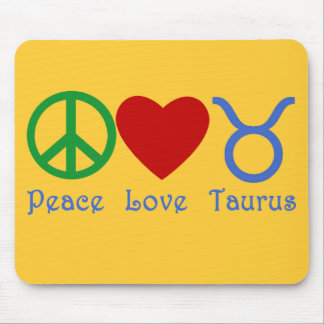 Peace Love Taurus Astrology Products Mouse Pad